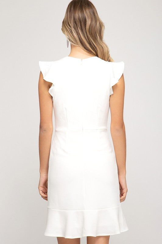 Hattie Flounce Hem Dress in Soft White