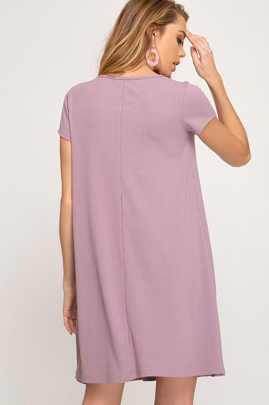 Everleigh Rib Knit Dress in Dusty Mauve