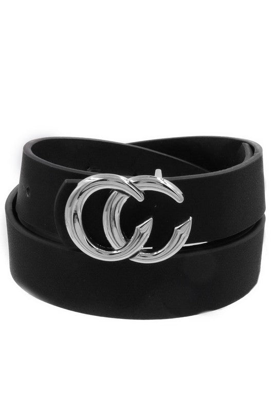 Gia Silver CC Buckle Belt in Black