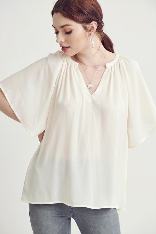 Quinn Pleated V-Neck Top in Cream