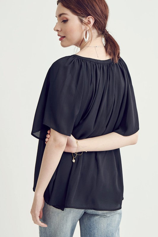 Quinn Pleated V-Neck Top in Black
