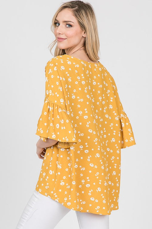 Charlotte Floral Top in Canary