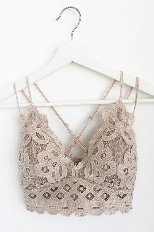 Double Strap Scalloped Lace Bralette in Taupe