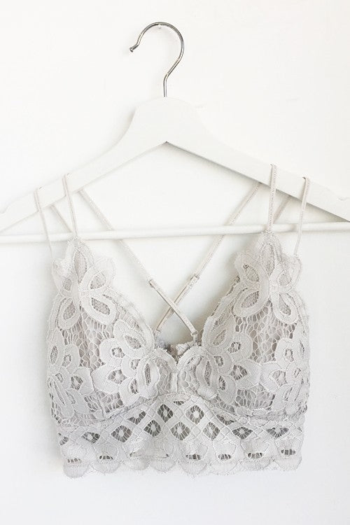 Double Strap Scalloped Lace Bralette in Light Gray