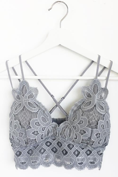 Double Strap Scalloped Lace Bralette in Violet Gray