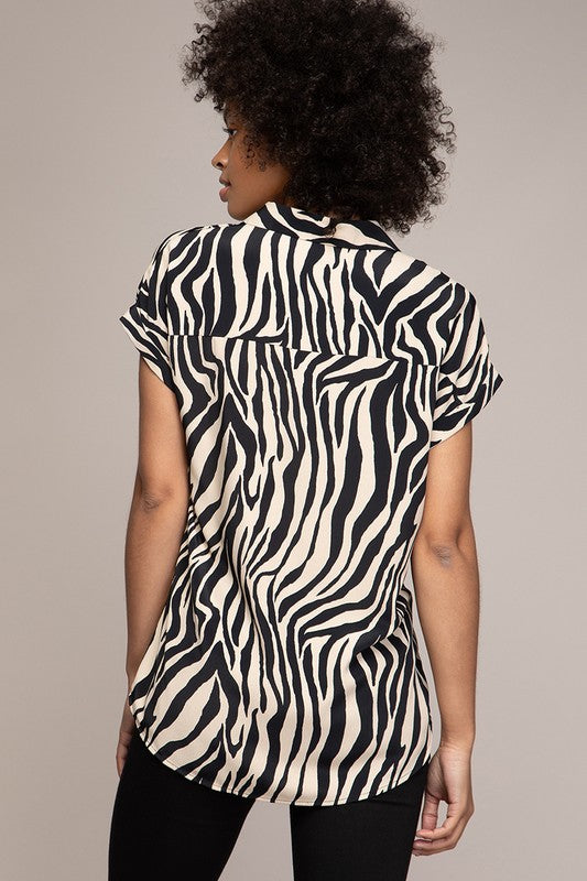 Giana Zebra Print Top in Black