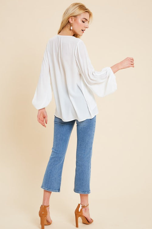 Evie Balloon Sleeve Top in Ivory