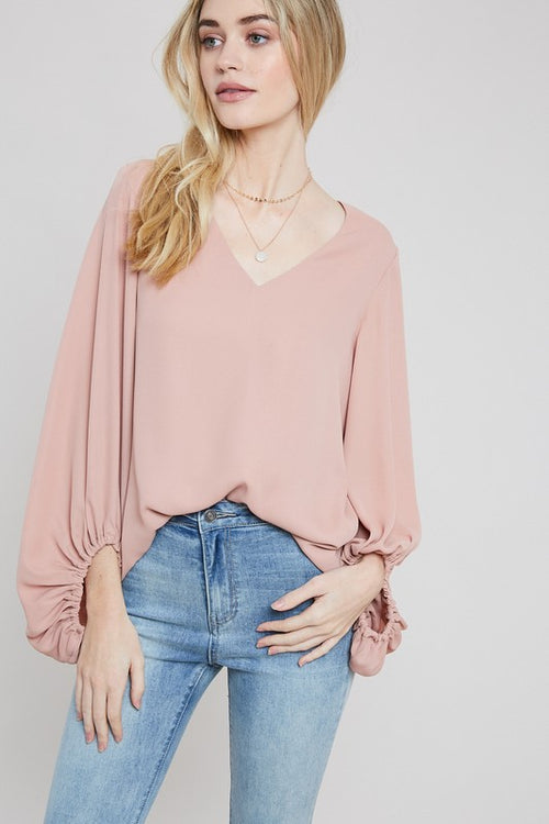 Evie Balloon Sleeve Top in Ginger