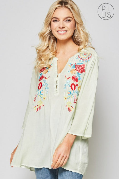 Abril Boho Tunic in Dusty Mint