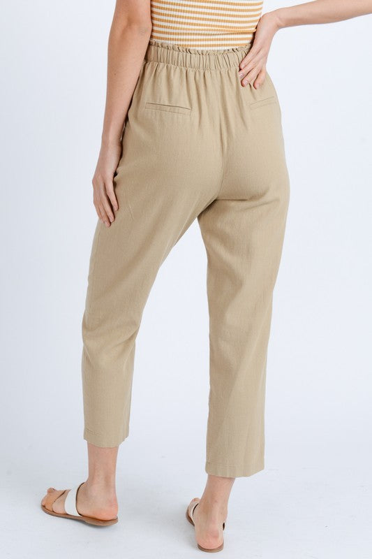 Arden Linen Pants in Khaki