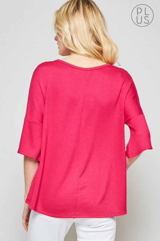 Amy Knit Top in Hot Pink