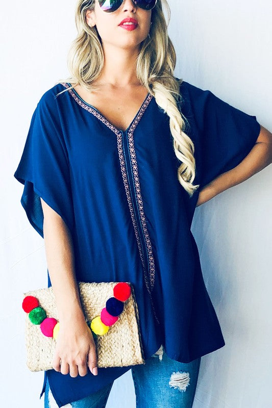 Harper Embroidered Top in Navy
