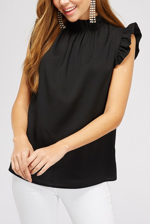 Tiffani Ruffle Neck Tank in Black
