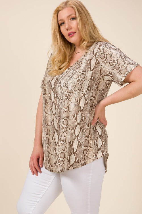 Giselle Snake Print Top in Neutral