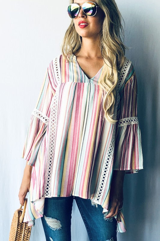 Alicia Striped Tunic in Rainbow