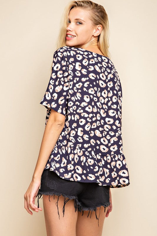 Carter Tiered Hem Top in Navy Leopard