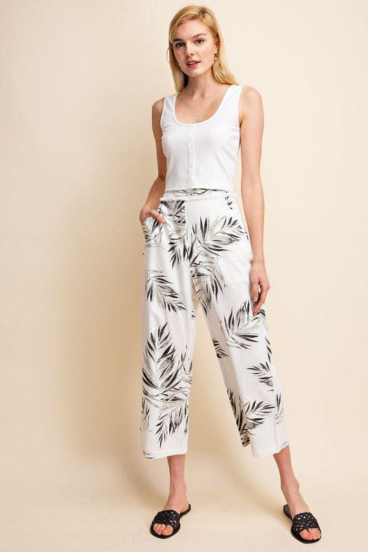 Ariana Palm Print Pants in Ivory
