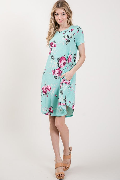 Dillon Floral Dress in Mint