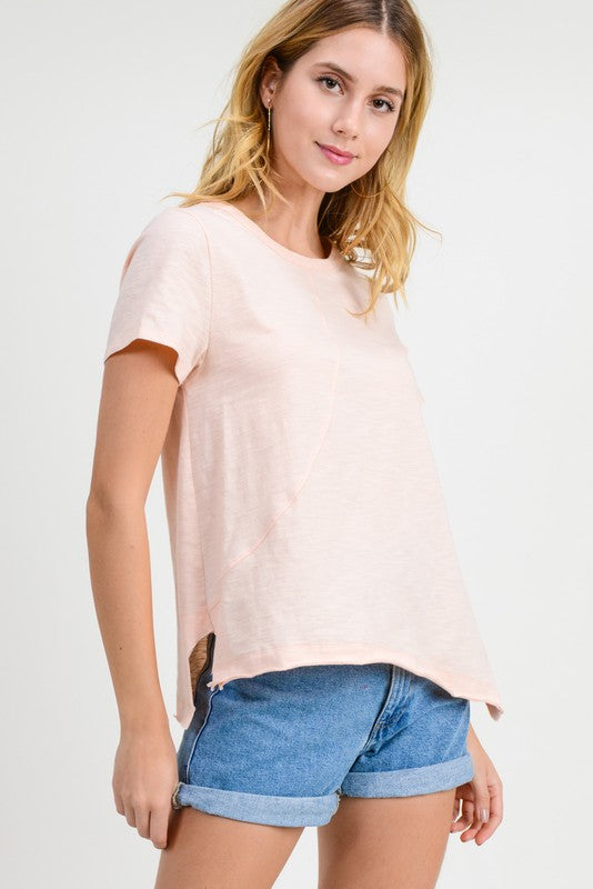 Ava Cotton Slub Top in Pale Peach