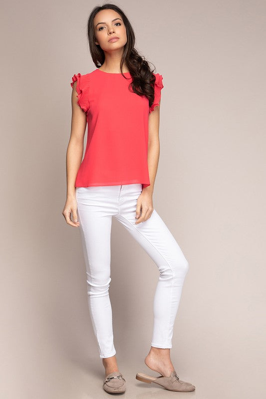 Daphne Ruffle Sleeve Top in Watermelon