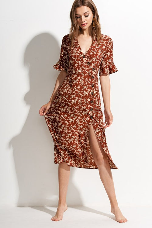 Alicia Floral Dress in Rust