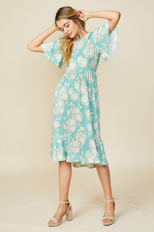 Finley Floral Dress in Mint