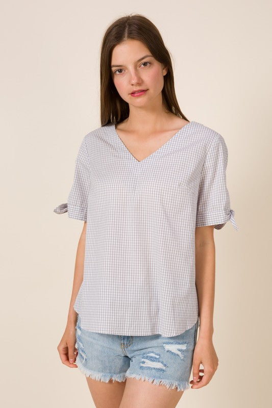Lydia Gingham Top in Silver