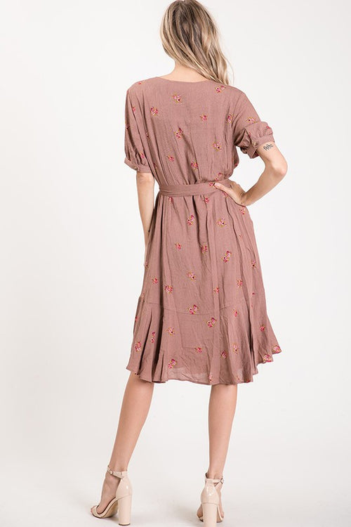 Cammie Floral Dress in Mocha