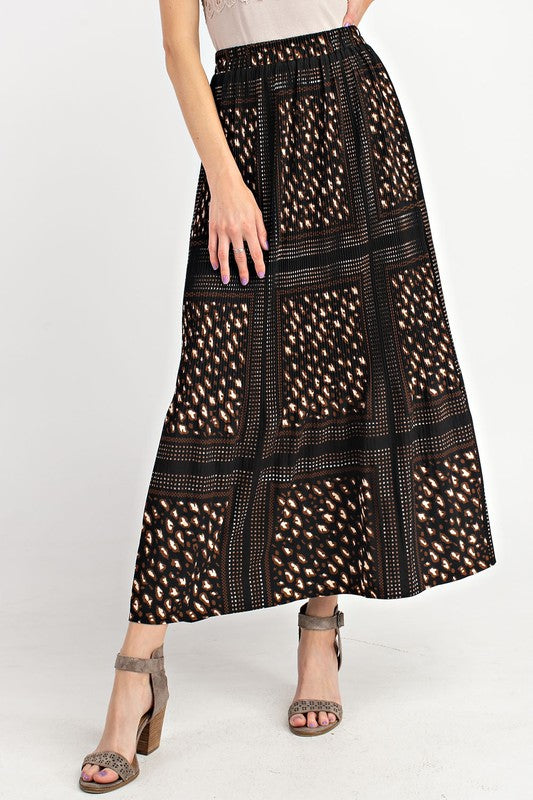 Kira Maxi Skirt in Black Leopard