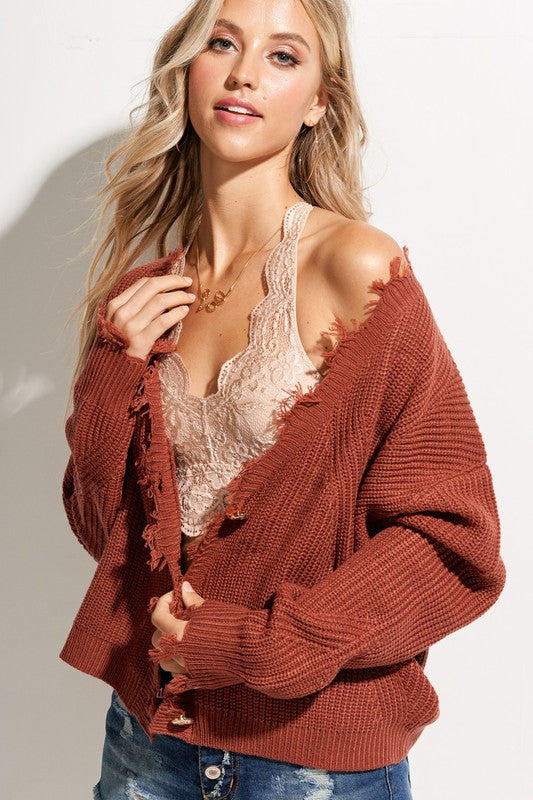 Lilliana Frayed Edge Cardigan in Marsala