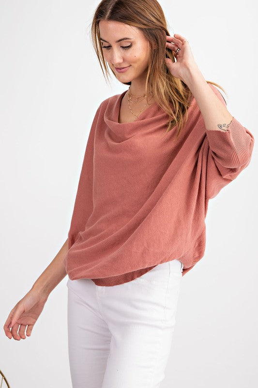 Athena Cowl Neck Top in Dried Rose