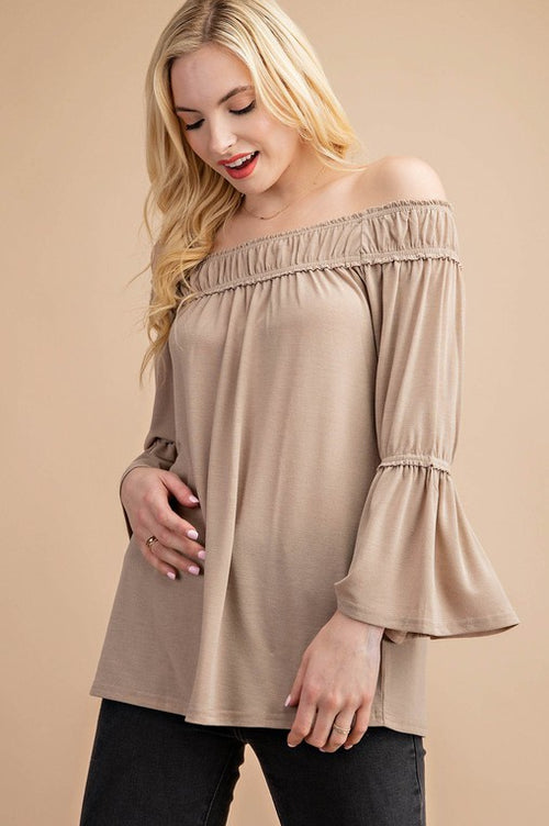 Paris Off Shoulder Top in Taupe
