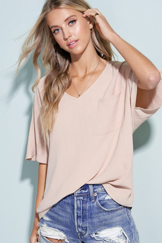 Rylor V-Neck Top in Beige