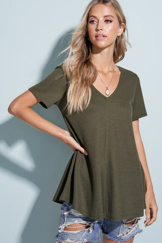 Charlene Babydoll Top in Sage