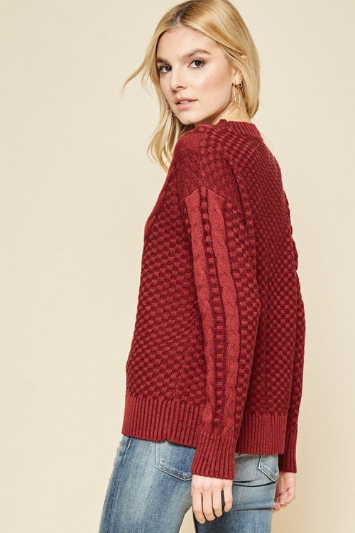 Addison Cable Knit Sweater in Ruby