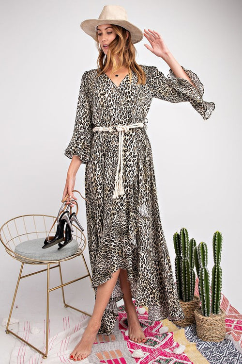 Ava Leopard Wrap Maxi Dress in Taupe