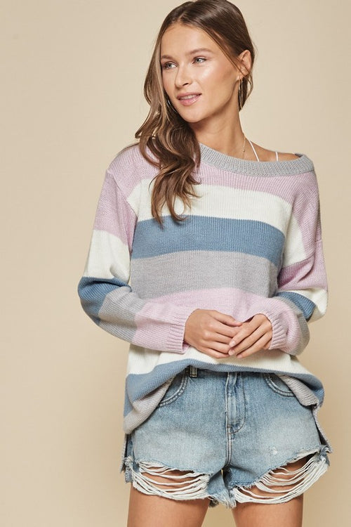 Audrey Colorblock Striped Sweater in Lavender