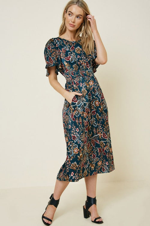 Claire Floral Midi Dress in Teal