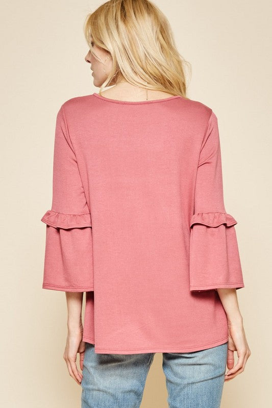Leah Bell Sleeve Top in Mauve