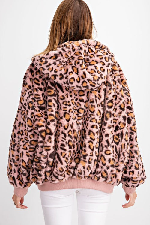 Emery Reversible Leopard Bomber Jacket in Rose