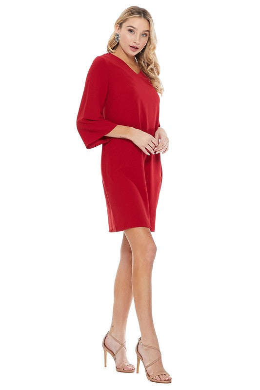 Elise Shift Dress in Red