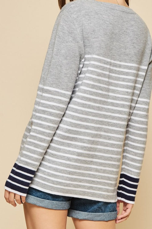 Camryn Striped Sweater in Heather Gray