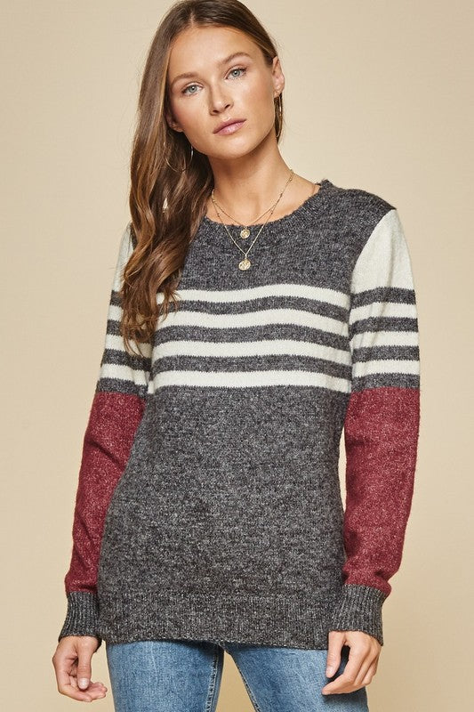 Cheryl Colorblock Striped Sweater in Charcoal