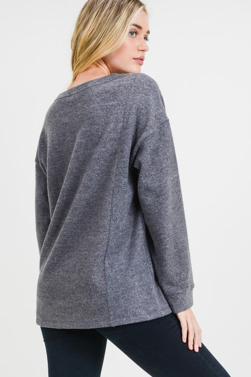 Dylan Button Side Top in Gray