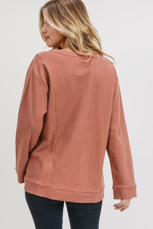 Finn French Terry Top in Canyon Clay