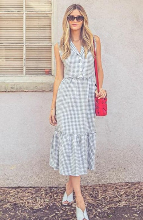 Nicole Gingham Dress in Sage