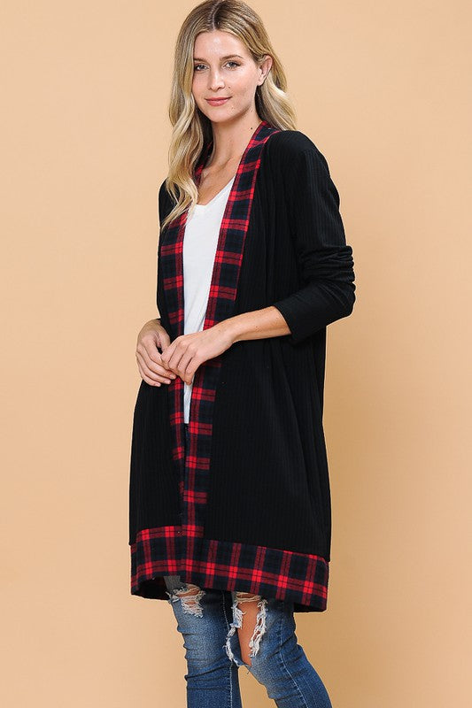 Jessa Buffalo Plaid Cardigan in Black