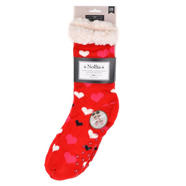 Selena Sherpa Camp Socks in Red Hearts