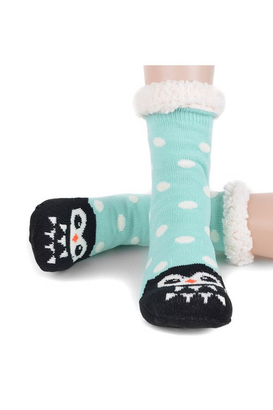 Selena Sherpa Camp Socks in Blue Owl