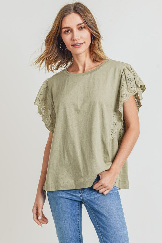 Gia Eyelet Lace Top in Sage